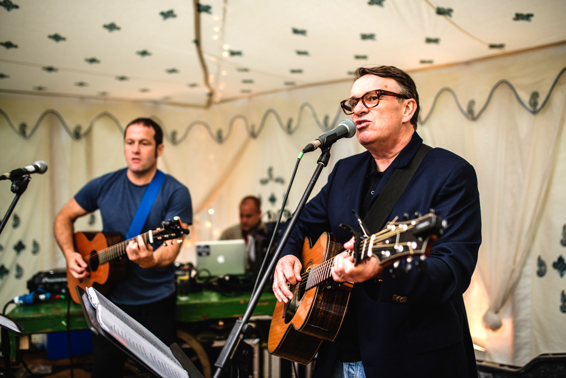 Squeeze performing a warm up gig at Pennard Orchard