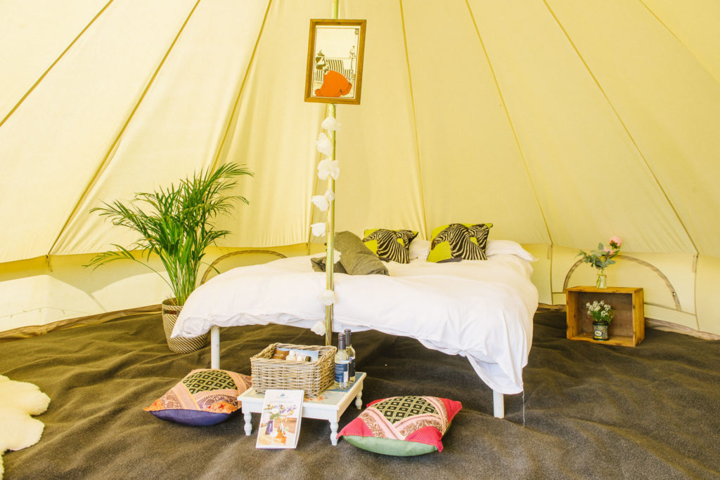 Bell Tent interior at Pennard Orchard Glamping for Glastonbury Festival