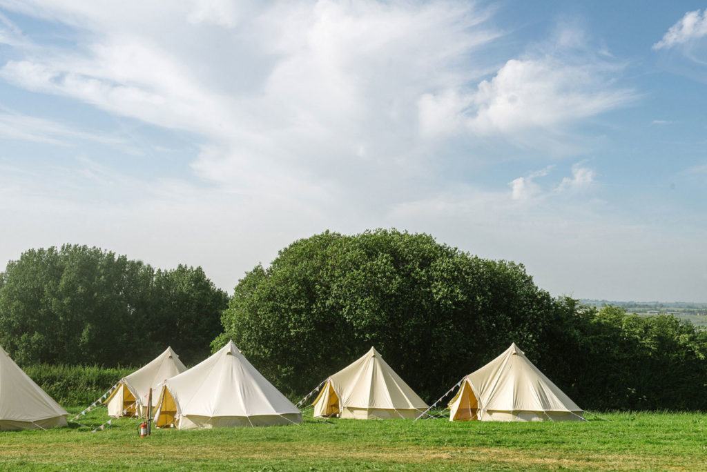 Bell Tents at Pennard Orchard for Glastonbury Festival