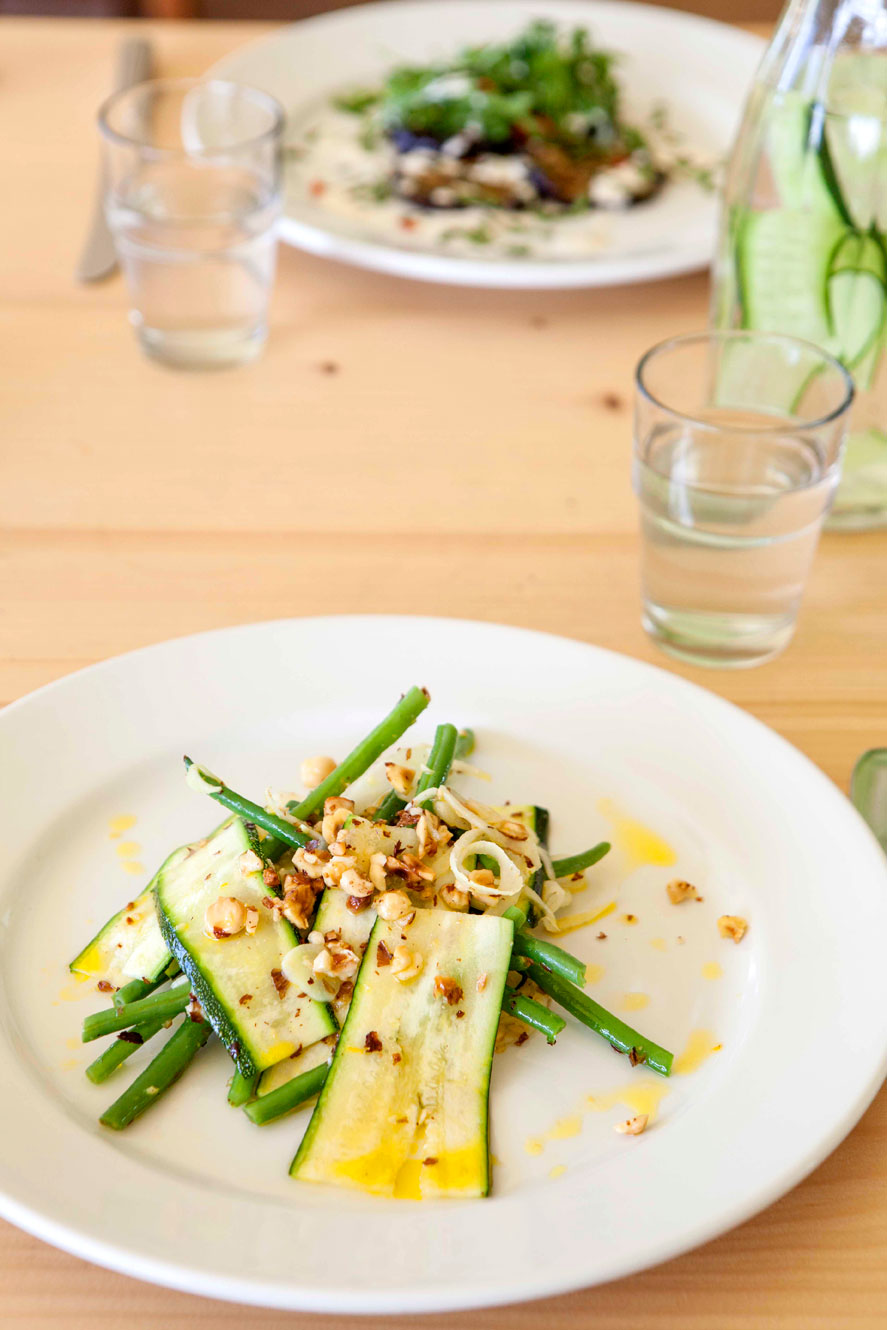 Green Beans and Shaved Courgette on fennel with hazelnut and orange