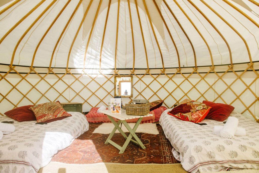 Large yurt for five at Pennard Orchard Glamping for Glastonbury