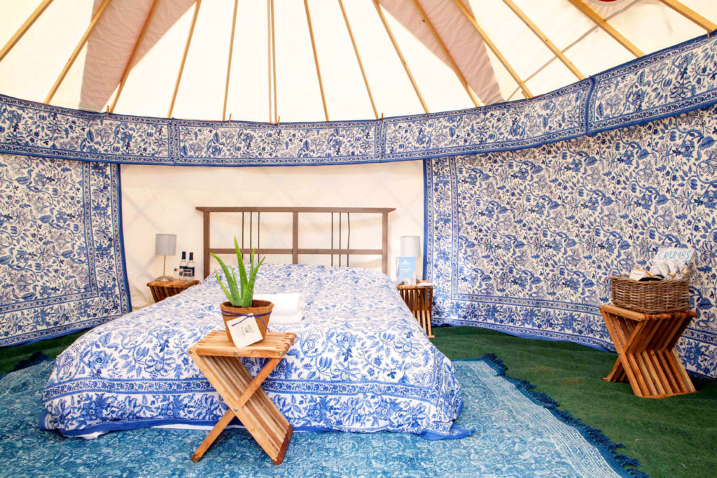 Luxury yurt for two in blue at Pennard Orchard Glamping for Glastonbury