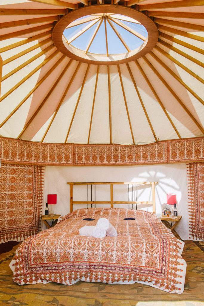 Luxury yurt with skylight at Pennard Orchard Glamping for Glastonbury Festival