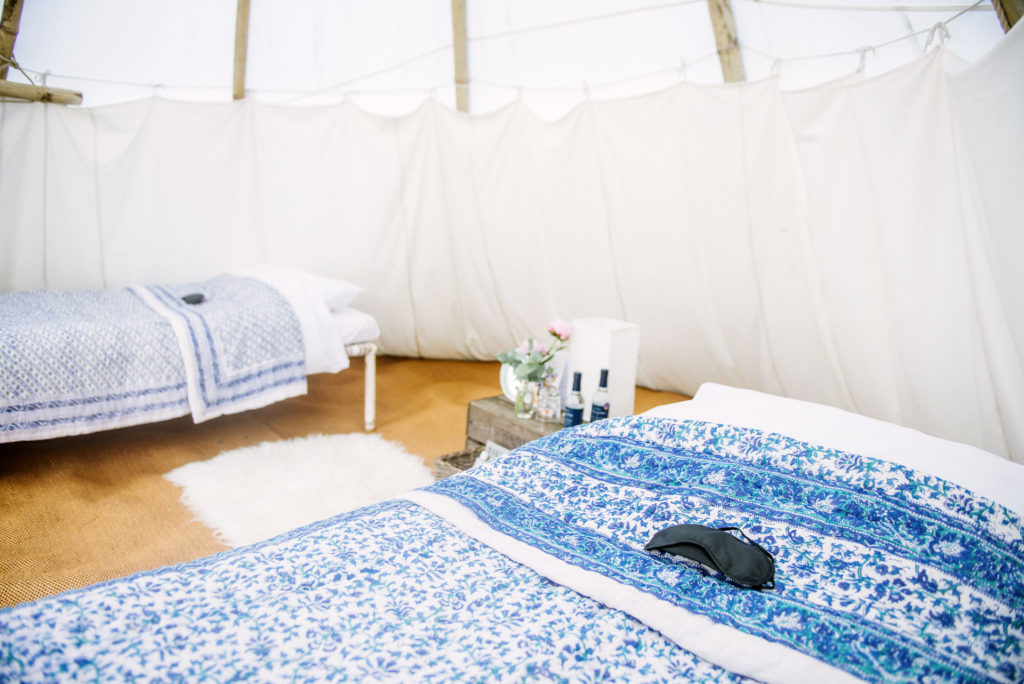 Majestic tipi for three at Pennard Orchard Boutique Camping for Glastonbury Festival