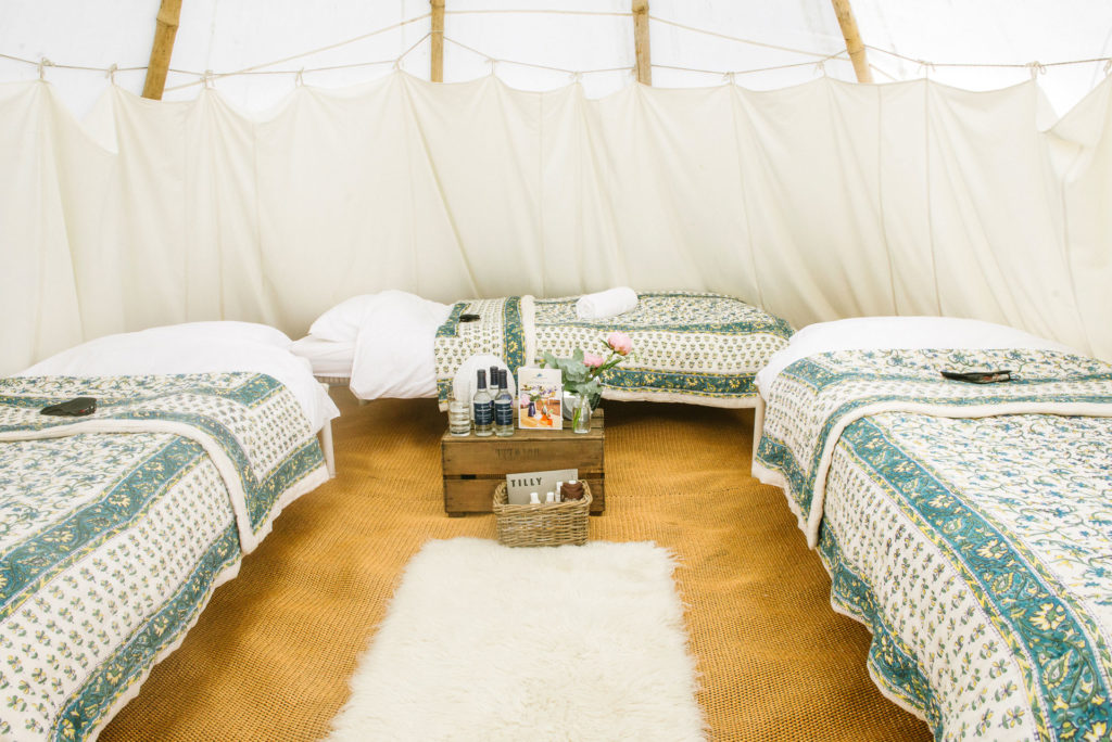 Majestic tipi for three at Pennard Orchard Boutique Camping for Glastonbury