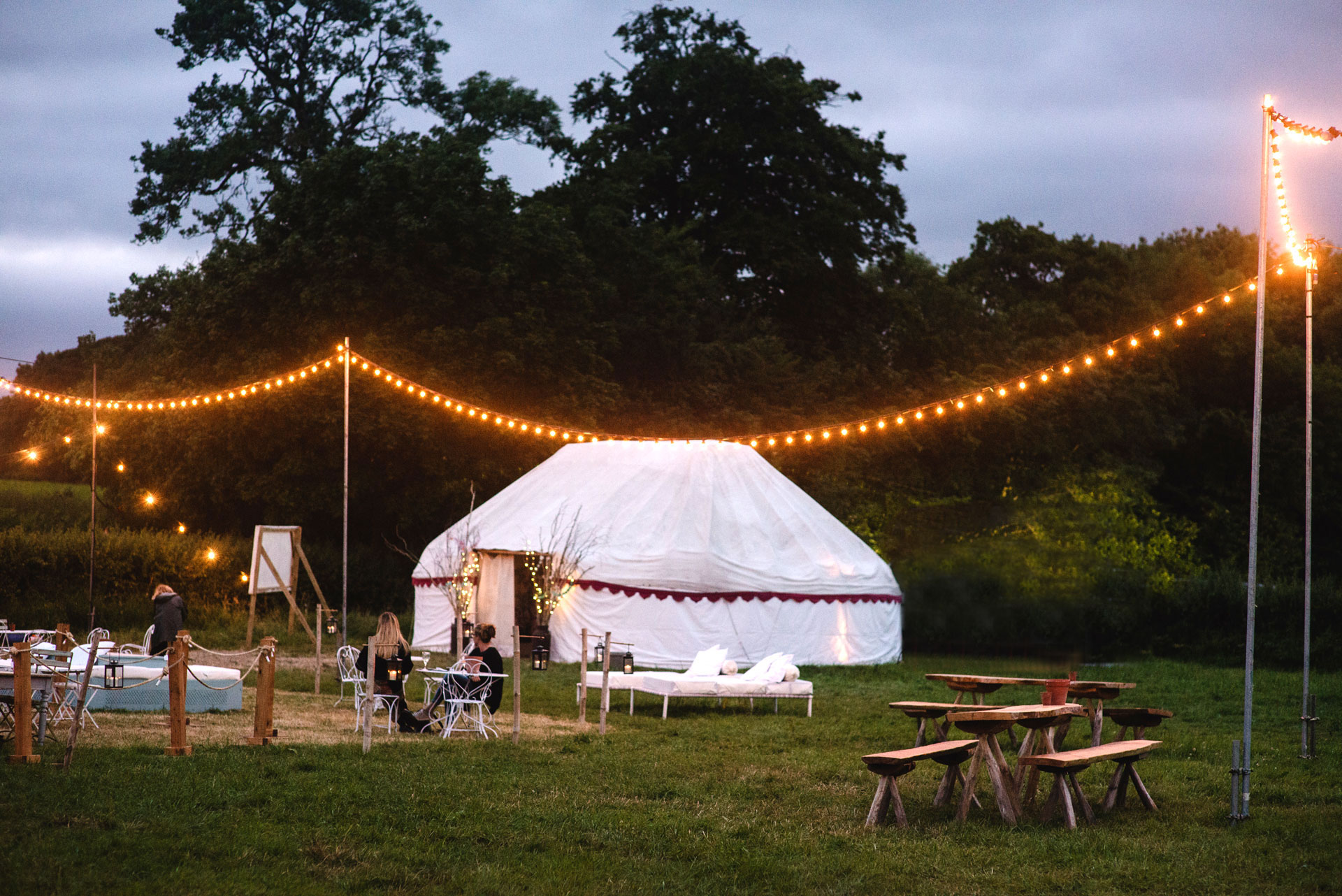 Pennard Orchard Reception tent at dusk