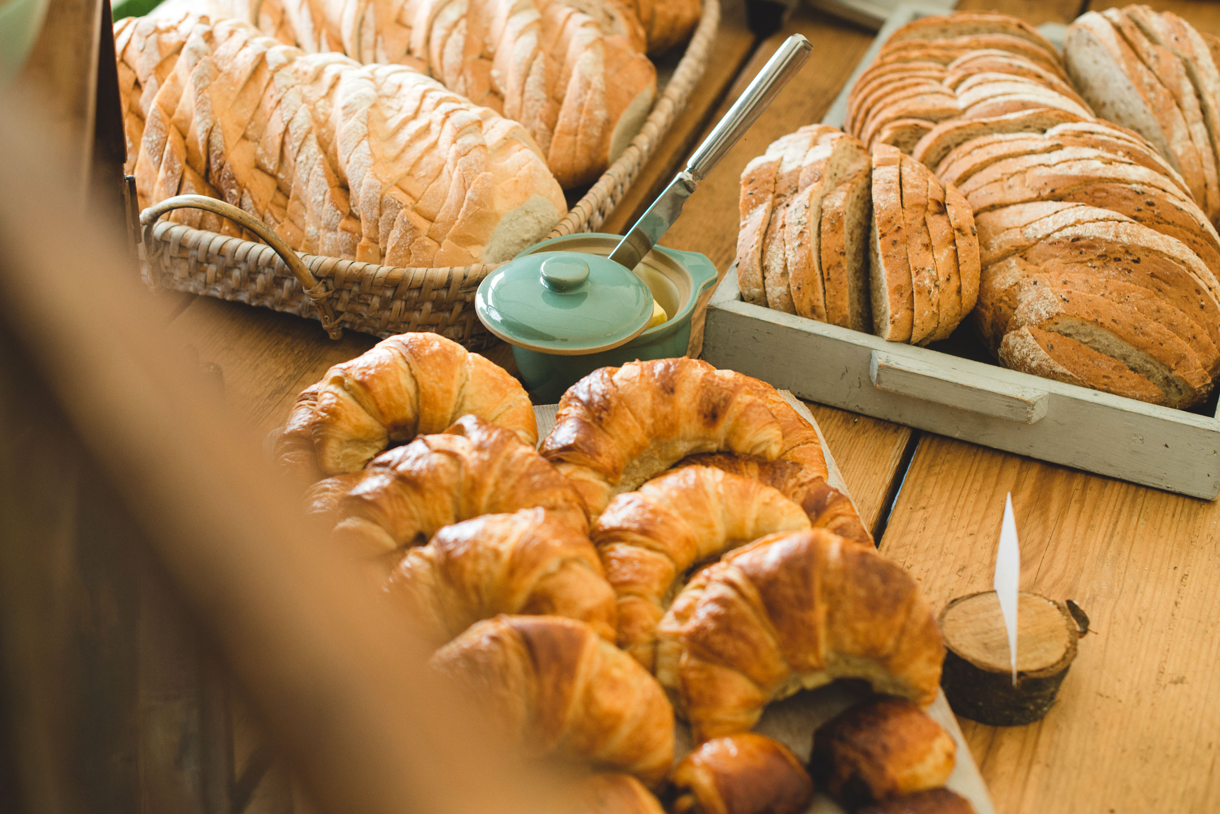 Daily fresh pastries and loaves of bread