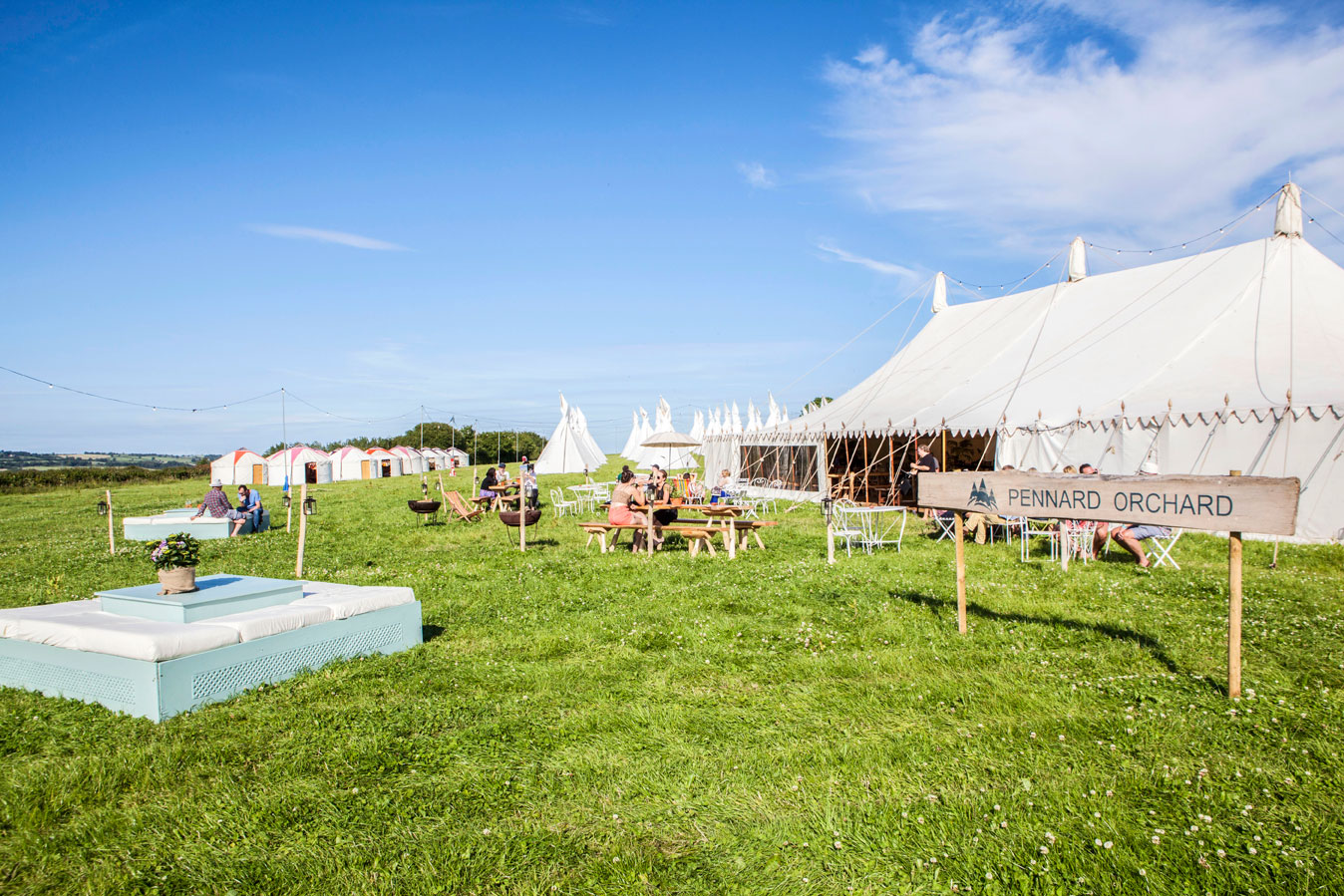 Pennard Orchard Boutique Camping meadow for Glastonbury festival