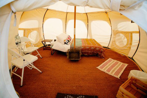 king sized bed lotus belle tent at Pennard Orchard boutique camping