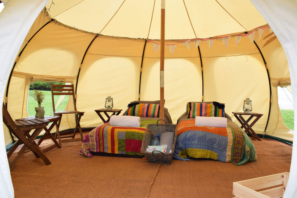 Glamping at Glastonbury with Pennard Orchard in Lotus Belle Tents