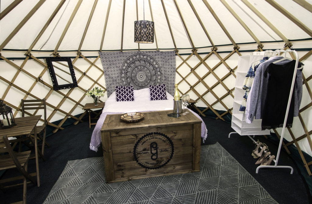 pennard orchard double yurt with hanging space glamping at glastonbury